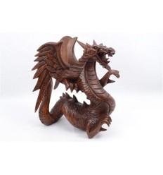 Statue Dragon h30cm en bois massif sculpté main