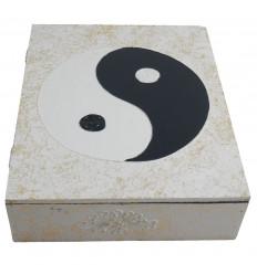 Boîte en bois Yin Yang 30x24cm - Coloris Noir & Blanc