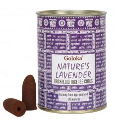 Box of 24 incense cones Backflow Goloka Lavender - Indian Incense Natural
