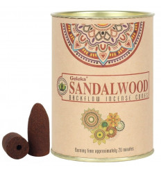 Box of 24 incense cones Backflow Goloka Sandalwood - Natural Indian Incense