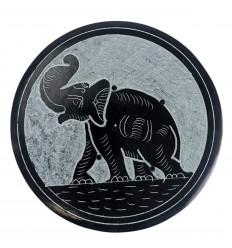 Porte-encens rond noir et gris en Pierre à savon - Symbole éléphant
