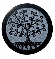 Black and grey round incense holder in Soapstone - Tree of Life Symbol Roots