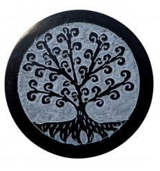 Porta incenso rotondo nero e grigio in pietra ollare - Radici simbolo albero della vita