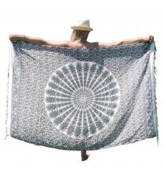 Pareo / sarong / wall hanging 170 x 115cm - Grey and white Mandala pattern - silver sequins