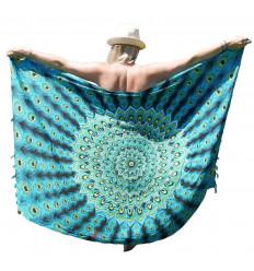 Paréo motif Paon Turquoise, Jaune et Noir + sequins argentés - 160x110cm