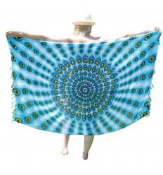 Paréo / sarong / tenture murale 160 x 110cm - Motif Paon Mauve, Rose et Turquoise + sequins argentés