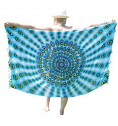 Pareo / sarong / parete appesa 160 x 110cm - Malva Pavone, Rosa e Motivo turchese - paillettes d'argento