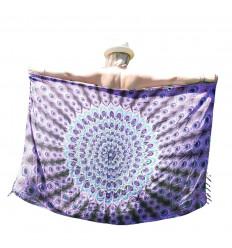 Sarong de Bali 160x110cm, Paréo, Foulard - Motif Mandala Violet, Mauve et Turquoise + sequins argentés
