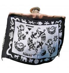 Paréo / sarong / tenture murale 160 x 110cm - Motif Gecko noir & blanc