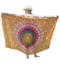 Paréo Multicolore motif Mandala et Éléphants - 160x110cm