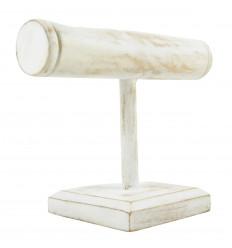 Espositore per bracciali e orologi 1 anello in legno massello tinto bianco sbiancato
