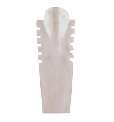 Busto display collane, rosetta in legno massello bianco spazzolato H40cm