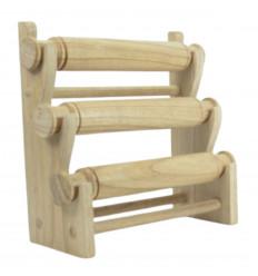 Porta bracciali e orologi / Display gioielli 3 anelli di legno esotico, raw