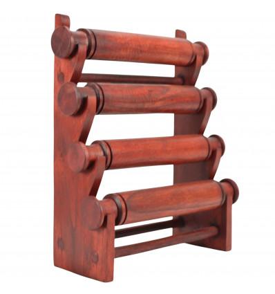 Présentoir bracelets et montres 4 joncs en bois massif teinte rouge