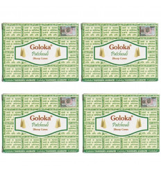 Encens Indien Goloka Patchouli - lot de 4 boîtes de 10 cônes