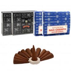 Assortiment de cônes d'encens Nag Champa + Super Hit. Lot de 4 boîtes de 12 cônes marque Satya Sai Baba.
