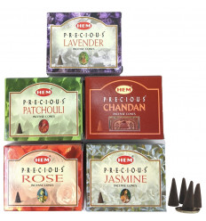 Cônes encens naturel indien Hem Precious. Lot de 5 boîtes pas cher. 5 parfums.