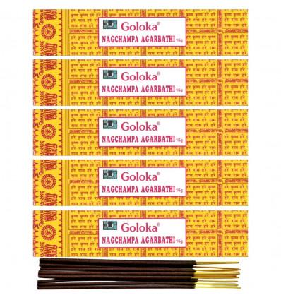 Incense Indian Goloka Nag Champa 5 boxes 16g or 60 sticks