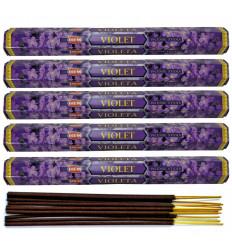 Lot 5 boîtes encens Violette HEM 100 bâtonnets