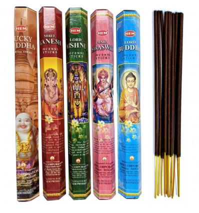 Assortimento di incenso, il Buddismo, l'Induismo (5 profumi). Lotto di 100 bastoncini marca ORLO.