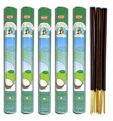 Lot 100 bâtonnets d'Encens Indien Naturel Noix de Coco (Coconut) HEM