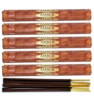 Incense Amber fragrance. pack of 100 sticks brand HEM