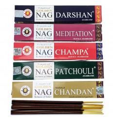 "Assortment of incense indian ""Golden Nag"" 5x15g brand Vijayshree."