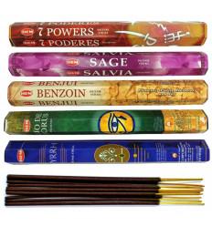 """Assortiment d'encens """"Contre le mauvais oeil"""" (5 parfums). Lot de 100 bâtons marque HEM."""