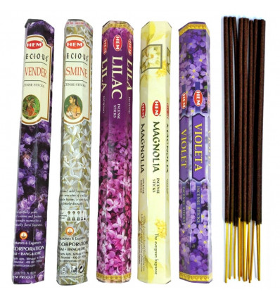 Assortiment d'encens Bouquet Floral (5 parfums). Lot de 100 bâtons marque HEM