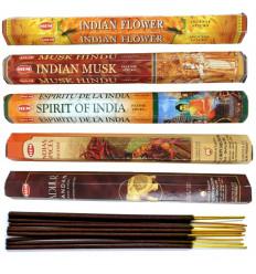 """Assortiment d'encens """"Voyage aux Indes"""" 5 variétés / 100 bâtons, marque HEM."""