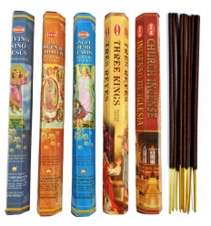Assortment of incense on the catholic faith. Lot of 100 sticks (5 scents) mark HEM.
