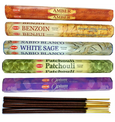 "Assortment of incense - Bouquet ""5 fragrances"". Lot of 100 sticks brand HEM"