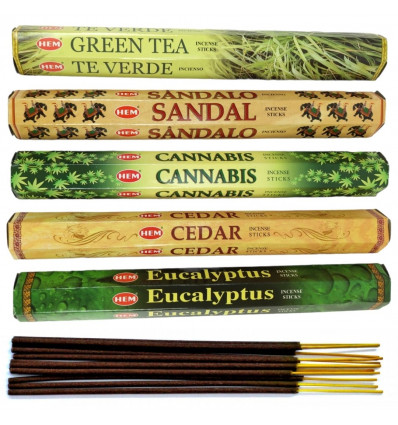 Assortment of incense bouquet nature (5 scents) Lot of 100 sticks brand HEM