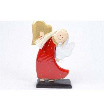 Ange en bois robe rouge H20cm - Artisanat de Noël