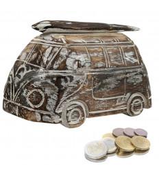 Tirelire Combi - Van en Bois style Vintage . Coloris Marron cérusé