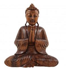 Seduta di buddha di legno massello intagliato a mano-h20cm - Mûdra Atmanjali , le mani giunte verso il cielo
