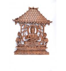 """Decorazione murale """"Tempio del Buddha"""", in legno massello intagliato a mano"""