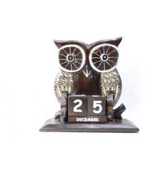 "Perpetual calendar ""owl"" wood"