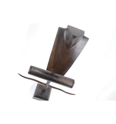 Mostra Gioielli di collane, anelli, bracciali e orologi. - in legno massello tinto marrone cioccolato