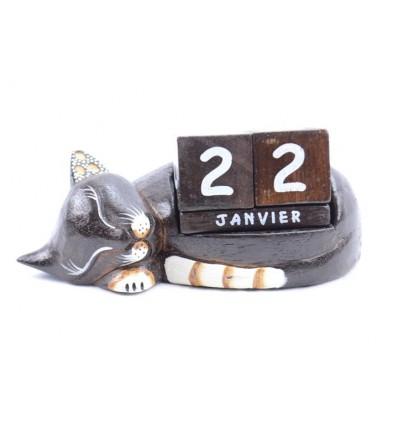 Calendario perpetuo Gatto addormentato in legno scolpito