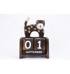 Perpetual calendar Cat wooden