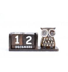 Calendario perpetuo in legno con statuina gufo