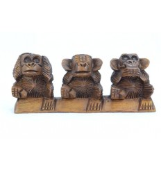 "The 3 monkeys ""secret of happiness"". Statuette of solid wood H7cm"