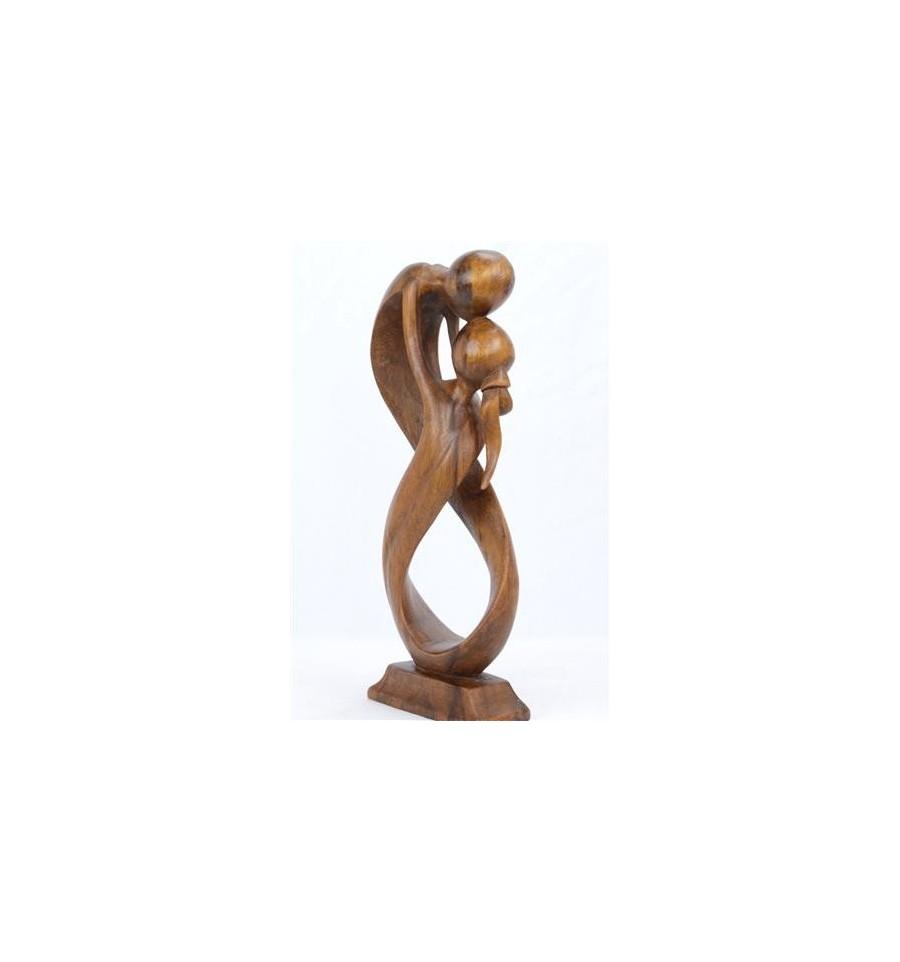 statuette couple homme femme infni cadeau mariage saint valentin statuette en bois teinte. Black Bedroom Furniture Sets. Home Design Ideas