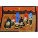 Tenture murale africaine, étole ou plaid motif musiciens africains, joueurs de djembé