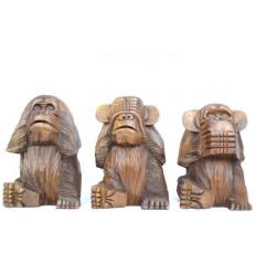 Les 3 singes de la sagesse XL. Statues en bois massif H20cm