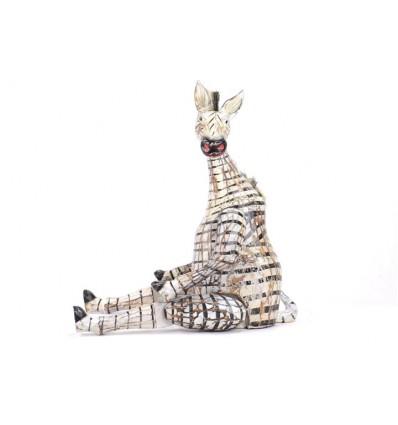 Pantin articulé / marionnette Zèbre en bois patiné style ancien