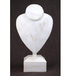 Bust display necklaces on walk in wood white finish brushed H30cm