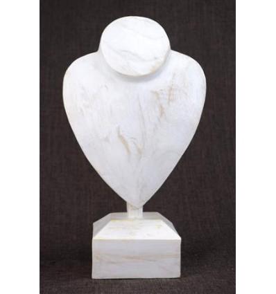 Buste présentoir à colliers sur pied en bois finition blanc cérusé H30cm