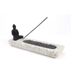 Porte-encens de luxe Bouddha en pierre de Java grise et noire